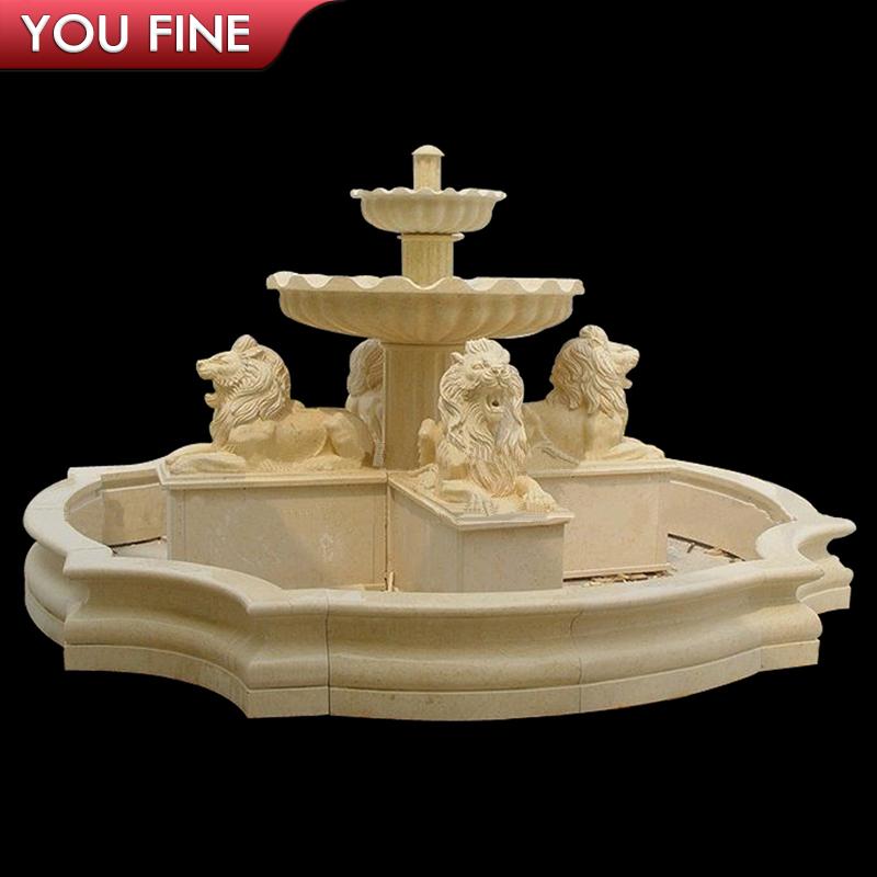 Outdoor Decorative Modern Stone Lion Water Fountain
