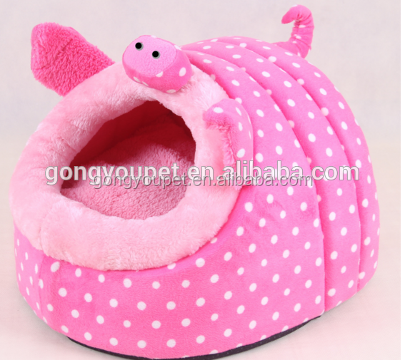 Great durability pp cotton plush soft warm dog cat bed pet bed pink color A092