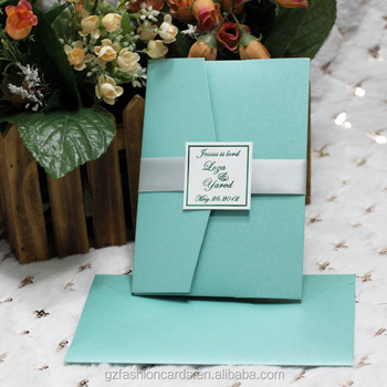 Blue More Colors With Ribbon Monogram Tag Wholesale Pocketfold Wedding Invitation Card