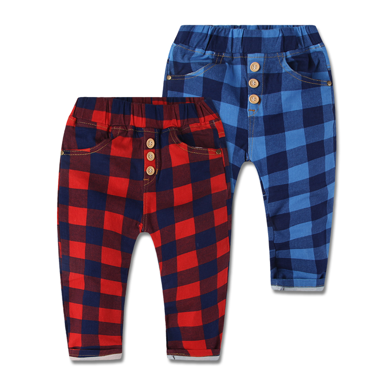 2015 New Arrival Spring Autumn 2-7 Years Toddler Kids Boys Plaid Pants Elastic Waist Cotton Casual Sports Trousers Boys Clothing