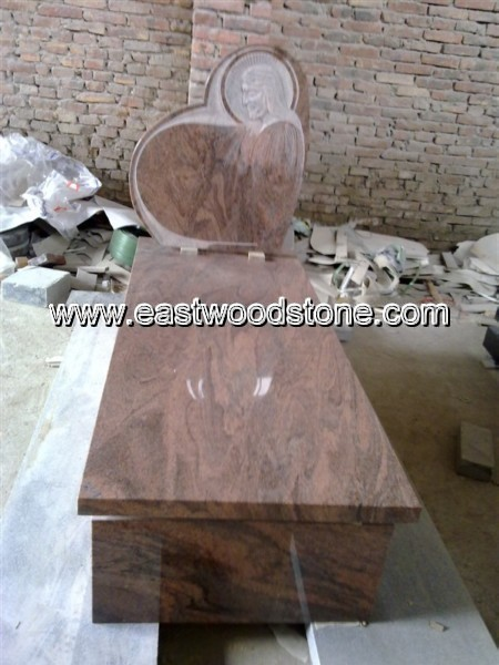 European red granite cheap upright headstone