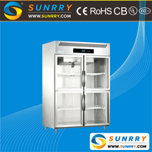 Commercial upright fruits and vegetable refrigerator cabinet with glass door for supermarkets (SY-RC1000G SUNRRY)