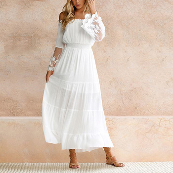 70c0e0feece Casual Sexy White Lace Off Shoulder Lace Flare Sleeves Women Maxi Dress