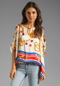 2013 latest new models of silk blouse printed off shouder blouse back v neck tops batwing sleeve tee