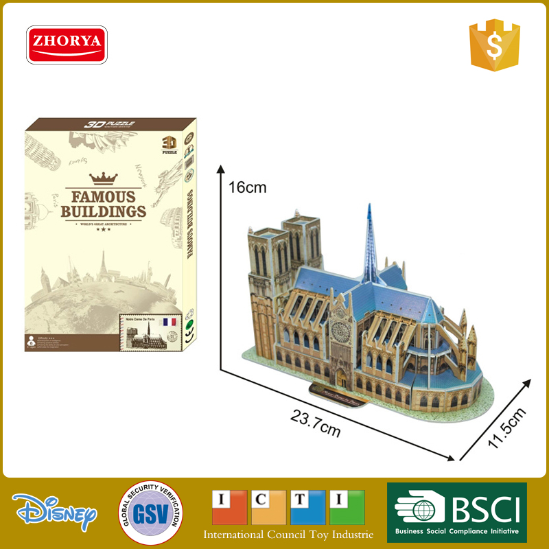 Zhorya Notre Dame de Paris paper 3d puzzle building model for kids diy