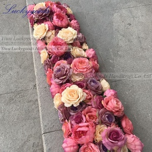 LFB904-1 flower rose peony flower runner cloth table stage arrangement indian wedding decorations