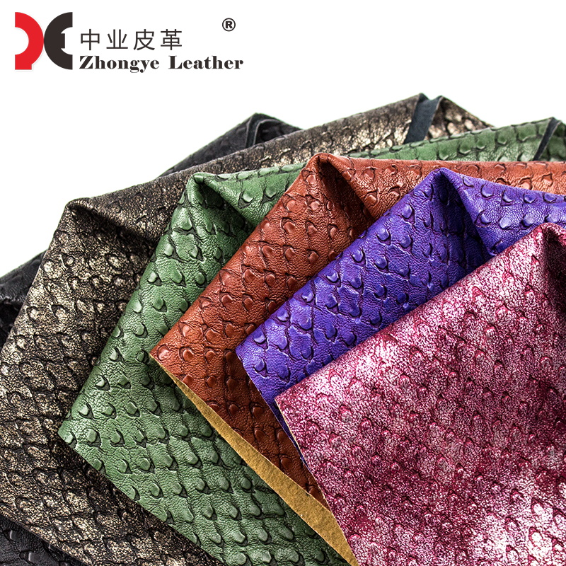 Manufacture Rexine Price Fake Leather Embossed Ostrich Grain Pattern Material Vegan Leather women For Shoes Bags 58192
