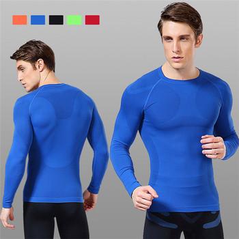 Compressão homens O-pescoço Manga Longa Camada de Base Esportes Apertado T  Camisas de Secagem fddbe36b58a4b