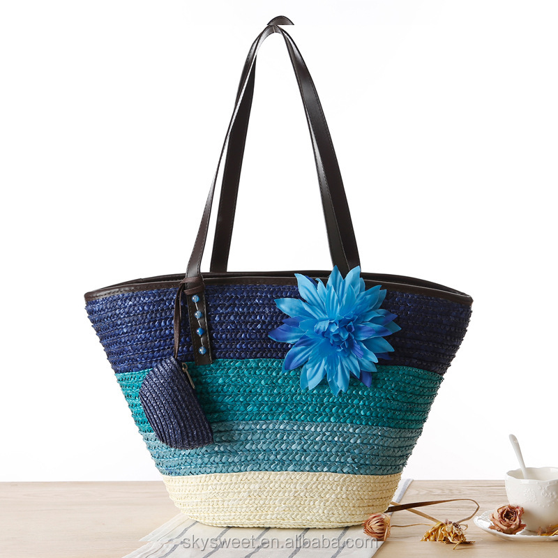 Flowers straw tote bags wholesale, army stripe straw tote bags wholesale(SWTJU1618)