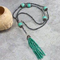LS-D6342 High Quality! Green Dyed Jade Charm Beaded Hematite Necklace With Crystal Tassel Pendant