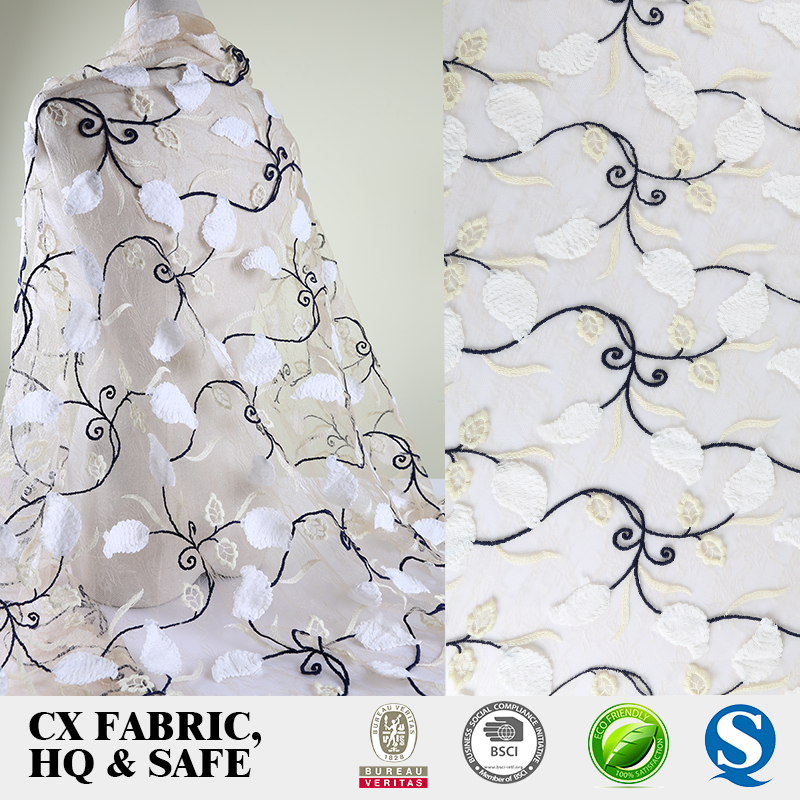 new high grade net flower embroidery fabric design with handwork
