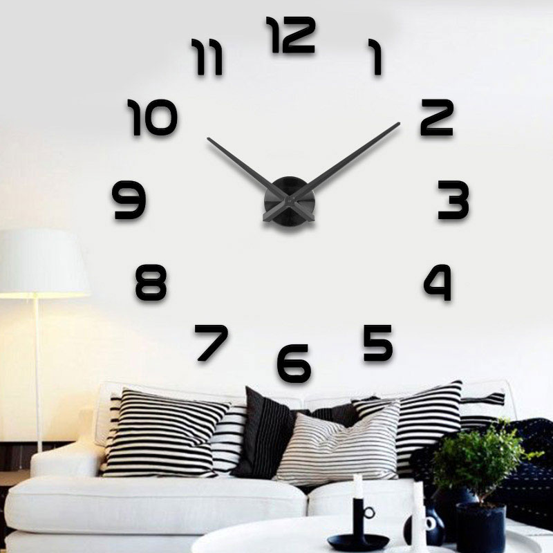 Large diy wall clock wall acrylic 3d clock wall фото