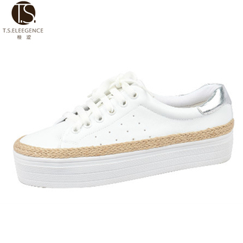 Fancy Lace-up White Thick Sole Girls