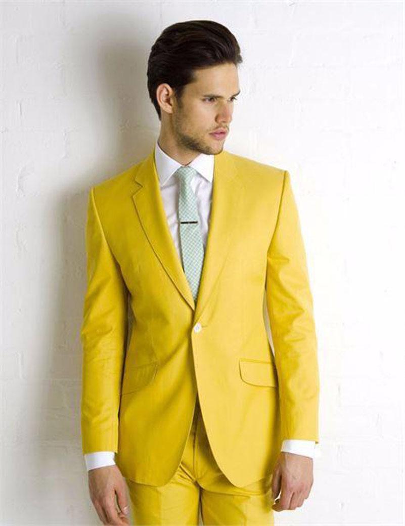 Compra hombre traje amarillo online al por mayor de China