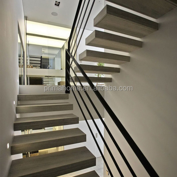 Internal Home Use Glass Wood Floating Stairs Design Floating Staircase Kit