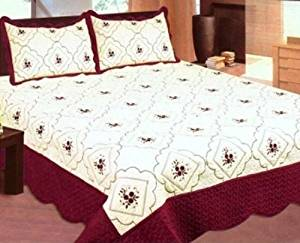 Bednlinens 3 Piece King Burgundy Embroidery Floral Bedspread Quilt Set by BEDnLINENS