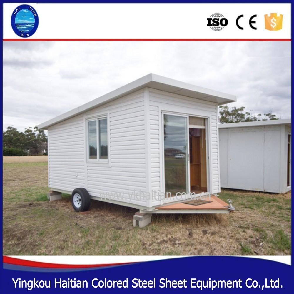 Chalet en bois pr fabriqu s vert petite maison sur roues for Maison fait de conteneur