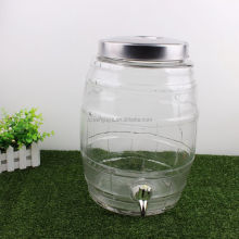8L Barrel shape glass dispenser jar with metal screw lid