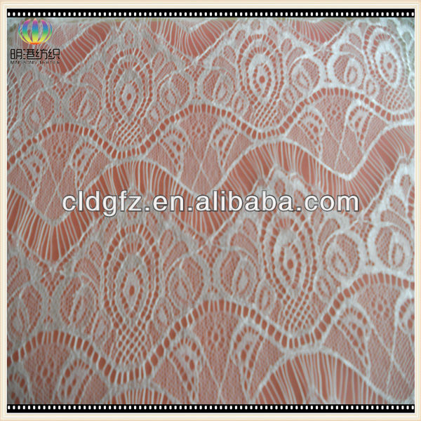 White indian lace embroidery fabric for dresses/cheap lace fabric