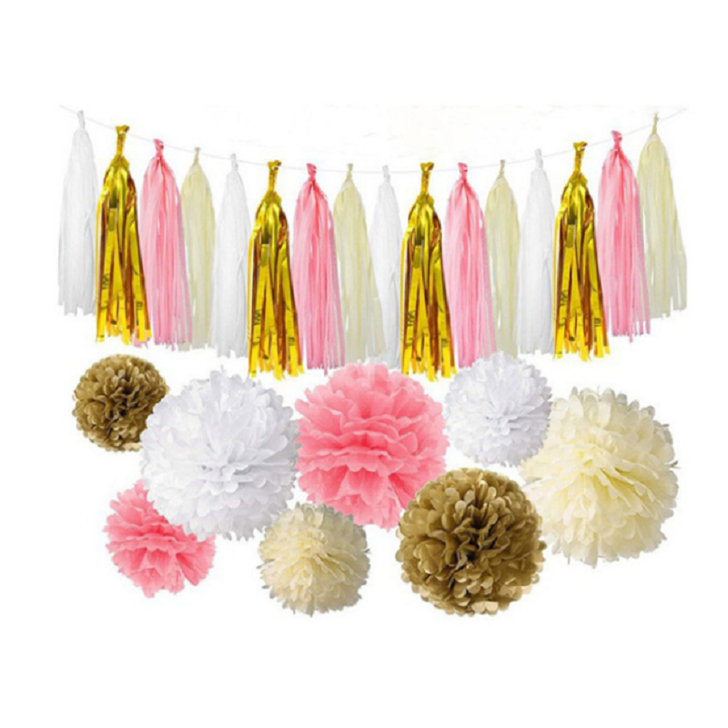 Gold Tissue Paper Party Decoration Pom Pom