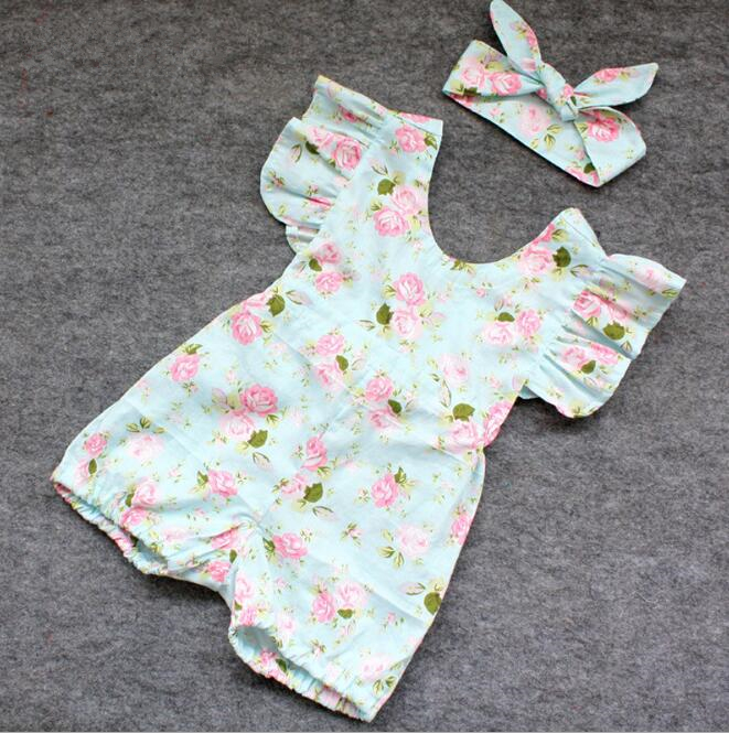 zm53849a Korean style baby plain romper flower printed cotton romper baby