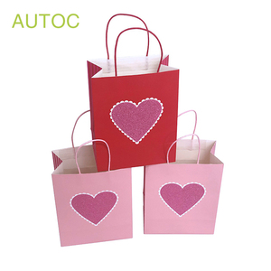 Custom love promotion printed gift craft paper bag logo with handle