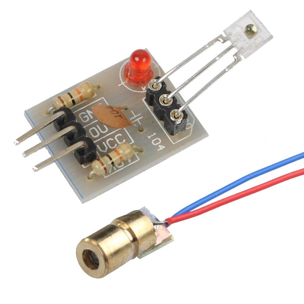 Icstation 5V 5mW 650nm Red Dot Laser Diode Module and Laser Receiver Sensor Kit (Pack of 10)
