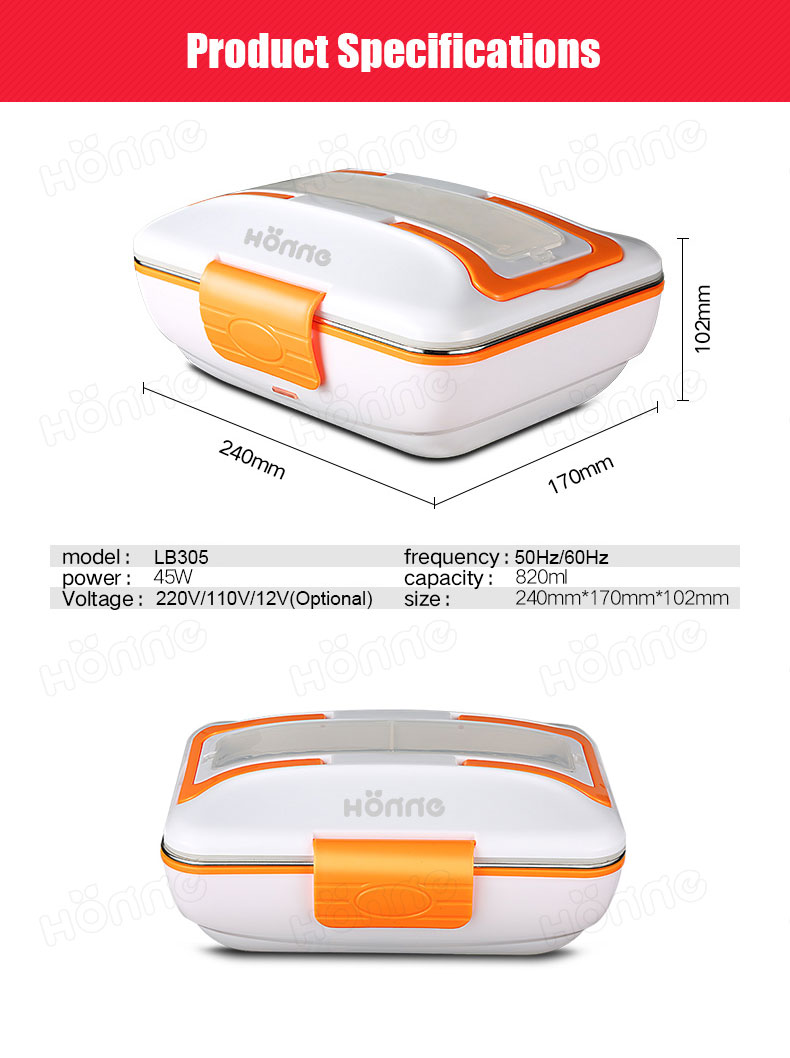 Electric lunch box with removable 3-compartment stainless steel