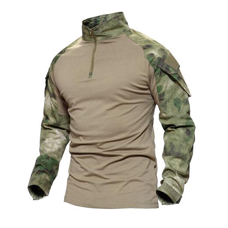T-shirt Camouflage militaire de Combat à manches longues fait sur commande d'oem, costume simple de grenouille de T-shirt vert d'armée