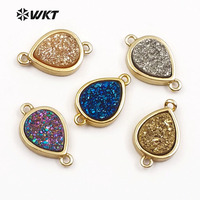 WT-C260 Beautiful Special Design Oval Shape Sparkling Natural Electroplated Charm with Gold Plated Necklace Pendant