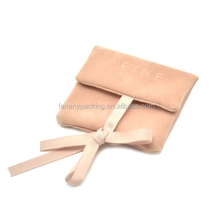 Luxury thick faux suede envelope jewelry pouch with insert