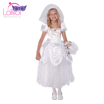 Oem Welcone Fun Kids Costumes Bride Fancy Wedding Dress Cosplay Up Costume
