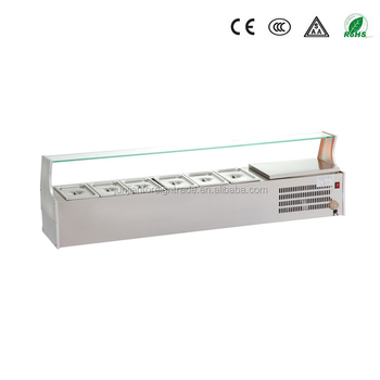 Guangzhou Manufacturer Stainless Steel Bench Table Top Salad Bar With Glass  Display For Restuarant And Hotel