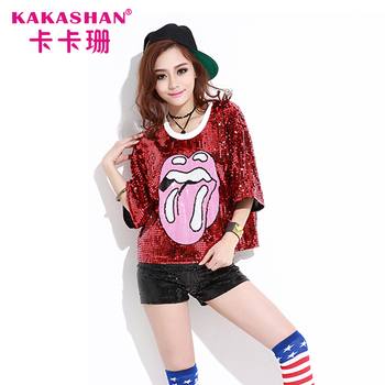 Dance Performance hiphop Fashion Wear Women Sequin Clothing hip hop t shirt 29332e9f2f