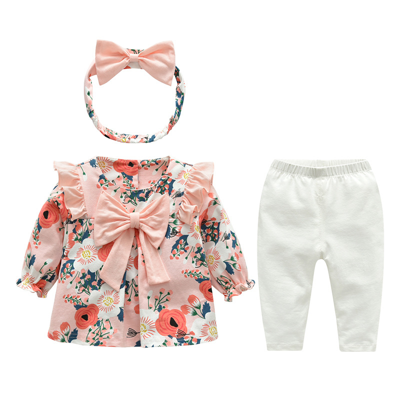 New Arrival Newborn Kids Clothes 0-3 Y Pink Ruffle Flower Toddler Girls Clothing Set фото