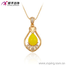 32539 Xuping noble heart shaped yellow opal pendant magnet gold filled jewelry wholesale