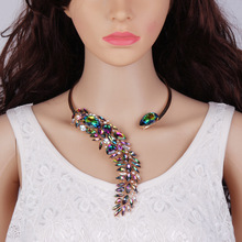 Luxury crystal gem stone big collar alloy necklace for women accessories