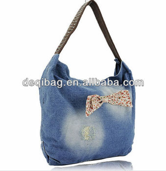 Cowboy Women Handbags Fashion Jean Bags With Flower Bow Detail Ladies Tote  Shoulder Bag 7b0d9154b6c56