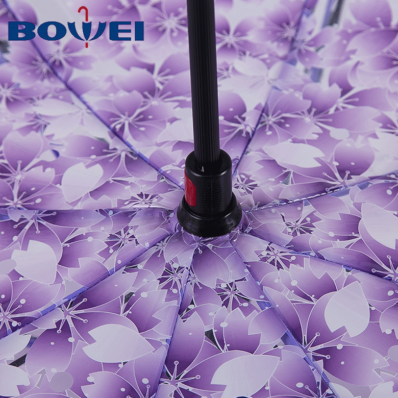 Custom 23 inch windproof POE double layer reverse umbrella with flower print