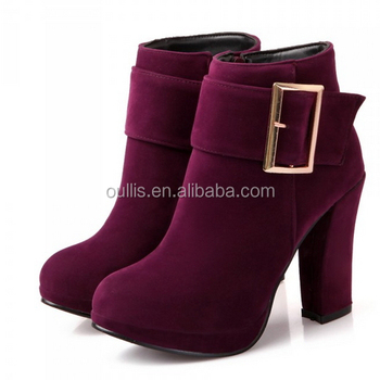 2016 New Design Chunky Heel Ankle Boots With Buckle Cp6632 - Buy ...