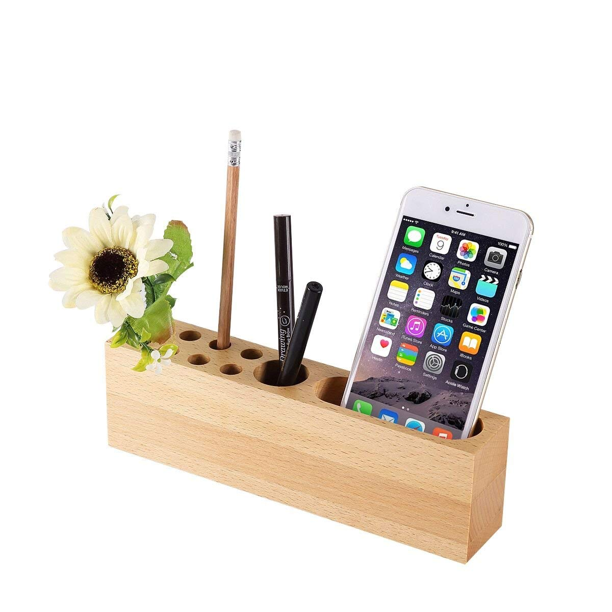 OHHOI Office Supplies Desktop Storage Box Stationery Solid Wood Pen Holders,Mobile Phone Stand Wood Pen Stand | 10 Slots Desk Organizer for Office, Living Room, Bath Room, and Kitchen