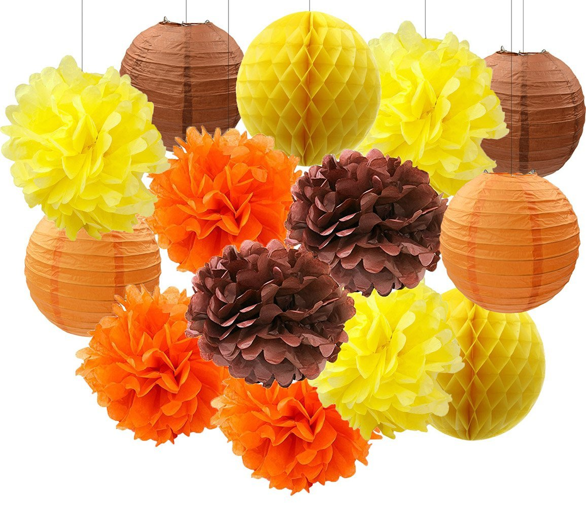 Wcaro Thanksgiving Decorations Fall Party Decorations Autumn Decorations Harvest Decorations Hanging Tissue Paper Pom Poms Flowers Paper Lanterns Autumn Birthday Party Decorations