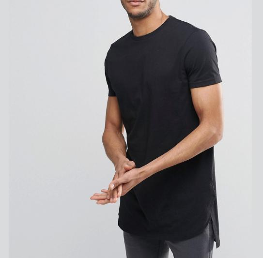 Custom Mens Cotton Spandex T Shirt Extreme Longline Plain T-shirts ...