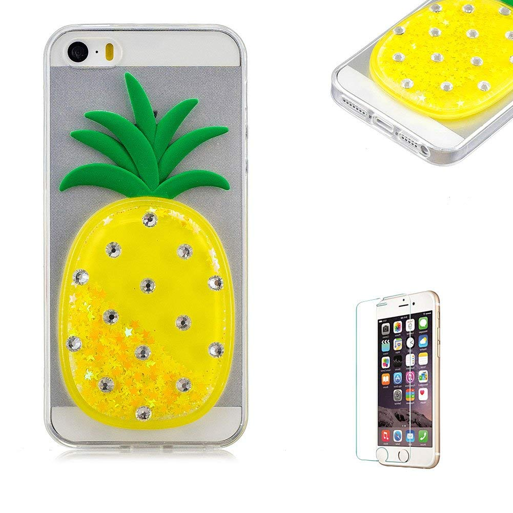 Funyye Liquid Quicksand Glitter Case for iPhone 5/5S,Luxury 3D Diamond Pineapple Light Yellow Bling Sparkle Flowing Stars Soft TPU Transparent Rubber Silicone Protective Case for iPhone 5/5S/SE