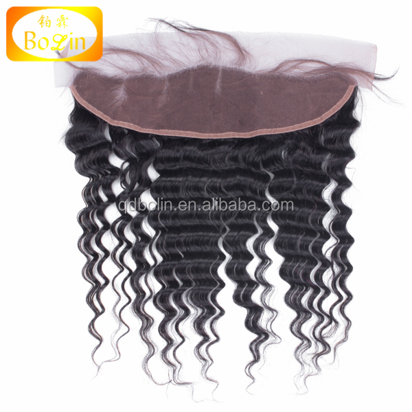 Virgin Peruvian Lace Frontal Closure 13X4 Deep Wave Lace Frontal From Ear To Ear Bleached Knots Full Frontal