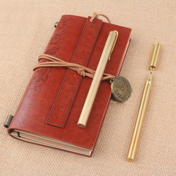 Pure Brass Scrub Signature Pen, Handmade Copper Pocket Pen with leather case