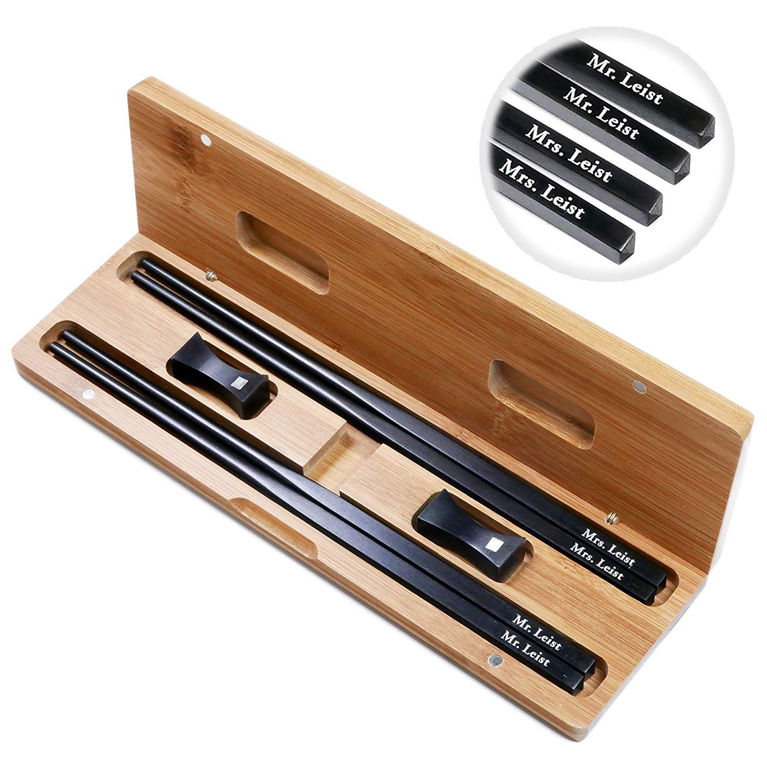 2 Pairs 10 Inch Natural Ebony Wood Chinese Chopsticks Custom Engraved With Personalized Names in Silver Color - In Classic Square handle Chinese or Japanese Style - Gift Set With Rests and Bamboo Case