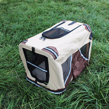 Dog Outdoor Travel Carry Portable Folding Pet Crate Mesh Sides