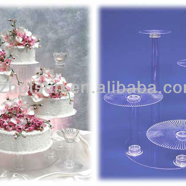 Round Acrylic Wedding Cake Stand With Supporting Poles