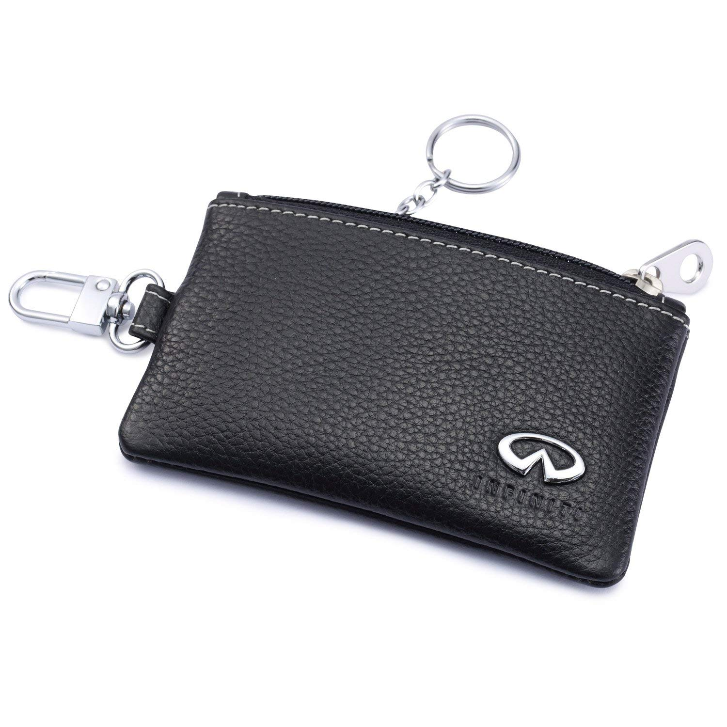 Infiniti Car Key Holder Remote Cover Fob with 1 Metal Keychain - Genuine Leather